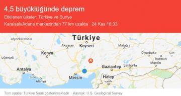 Kozan'da 4.5 Büyüklüğünde Deprem