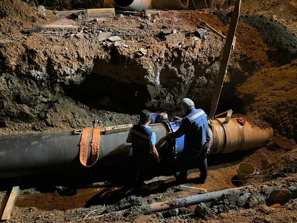 Bitez'de patlayan DSİ hattı tamir edildi