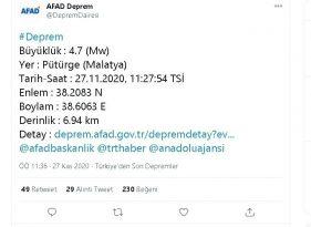 Malatya'da Deprem 4.7 ile Salladı