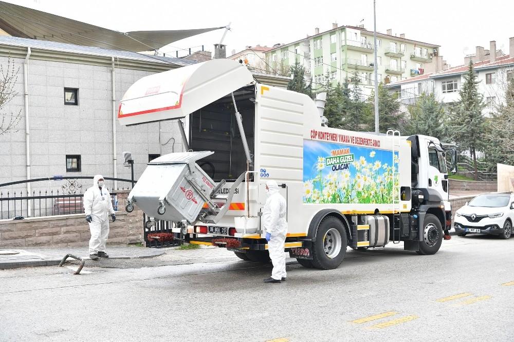 Mamak'ın sokaklarında koronavirüs temizliği devam ediyor