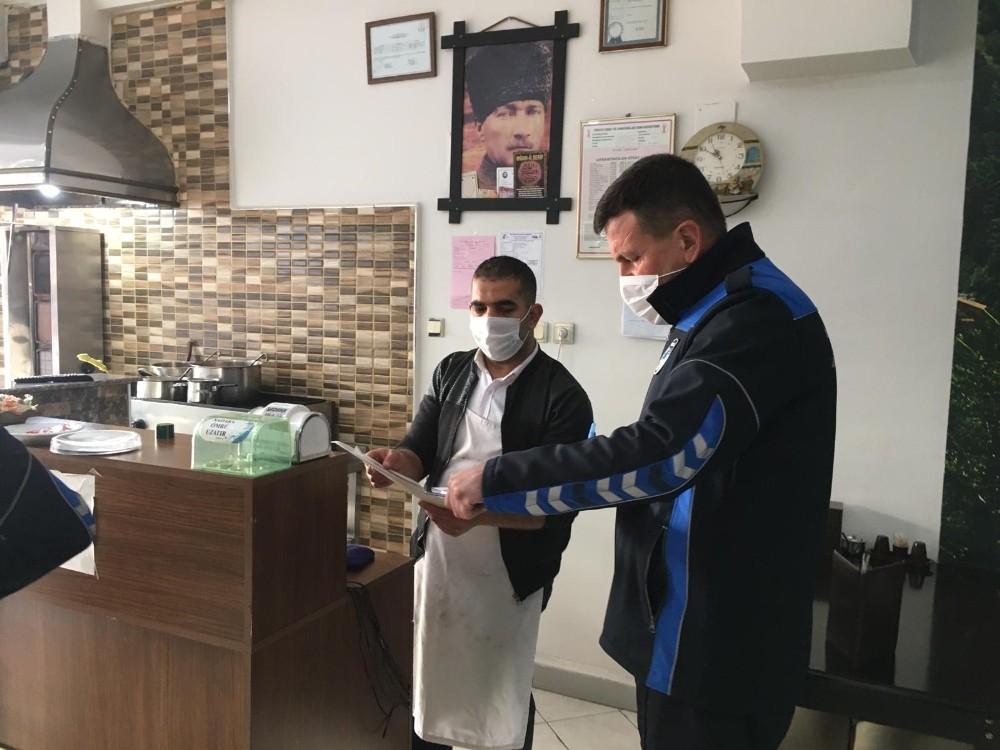 Salihli'de zabıta ekiplerinden işletmelere korona virüs denetimi