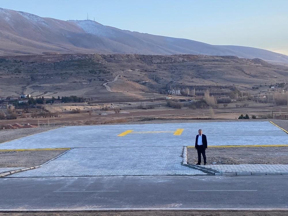 Pınarbaşı'da hasta sevkini rahatlatan helikopter pisti
