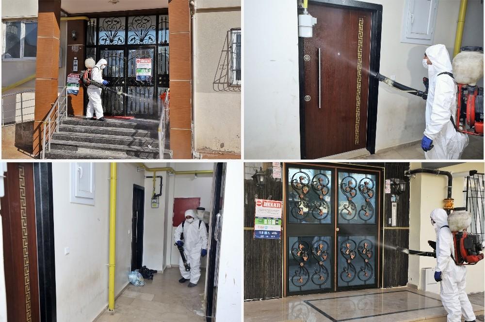 Şehitkamil'de covid vakası görülen binalar dezenfekte ediliyor
