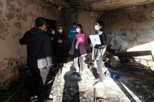 Yangın çıkan sitede zarar tespiti