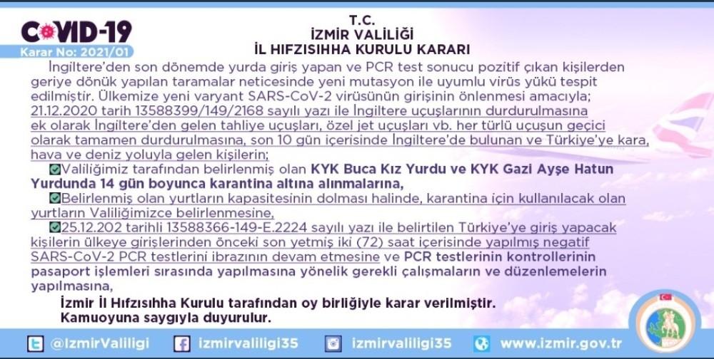 İngiltere'den İzmir'e gelen kişiler 14 gün karantinaya alınacak