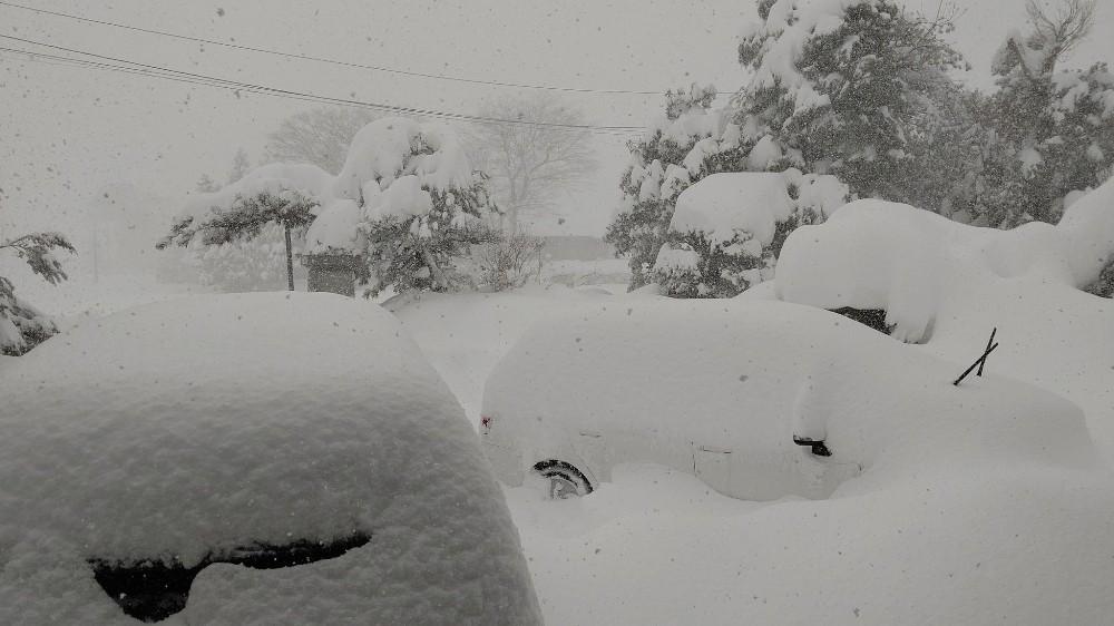 Japonya'da kar yağışı nedeniyle yüzlerce araç yolda kaldı, 1 kişi öldü