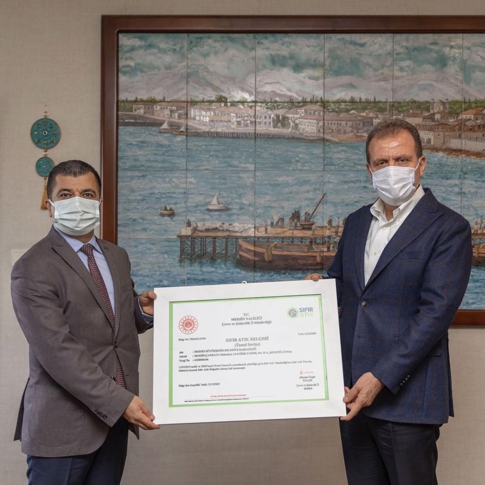 Mersin Büyükşehir Belediyesine sıfır atık belgesi