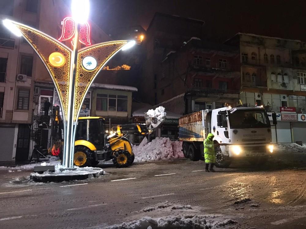 Şemdinli Belediyesinden kar mesaisi