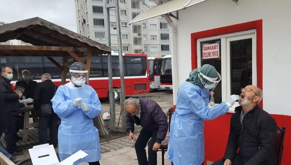 Samsun'da Şoförler Korana Virüs Testinden Geçiriliyor