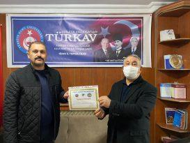 Ünsal'dan TÜRKAV İl Başkanına teşekkür belgesi